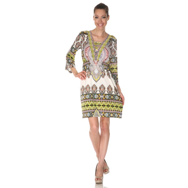 White Mark Women's 'Venezia' Ivory/ Yellow Mix Print Dress