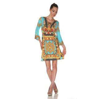 White Mark Women's 'Venezia' Gold/ Turquoise Mix Print Dress