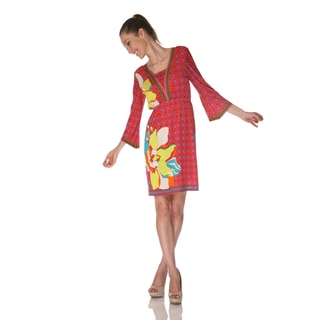 White Mark Women's 'Venezia' Fuchsia/ Yellow Mix Print