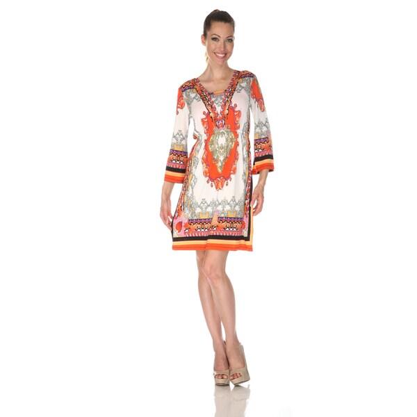 White Mark Women's 'Venezia' Ivory/ Orange Mix Print Dress