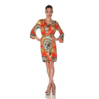 White Mark Women's 'Venezia' Red Mix Print Dress