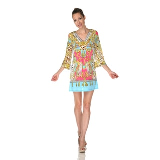 White Mark Women's 'Florence' Yellow/ Turquoise Mix Print Dress