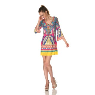White Mark Women's 'Florence' Pink/ Turquoise Mix Print Dress