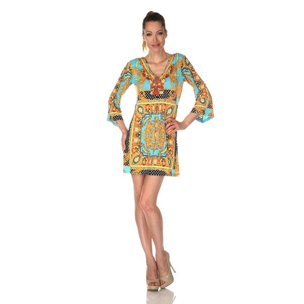 White Mark Women's 'Florence' Gold/ Turquoise Mix Print Dress