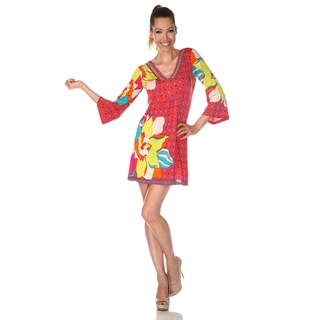 White Mark Women's 'Florence' Fuchsia/ Yellow Mix Print Dress