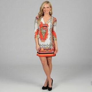 White Mark Women's 'Florence' Ivory/ Orange Mix Print Dress