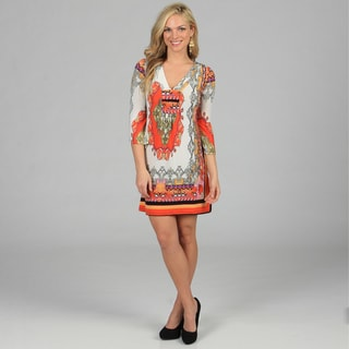 White Mark Women's 'Florence' Ivory/ Orange Mix Print Dress