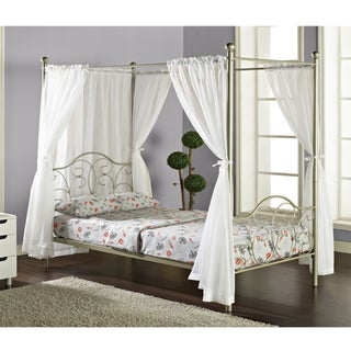 Pewter Full-size Canopy Bed with Curtains