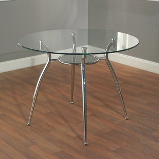Tempered Glass Chrome Round Dining Table