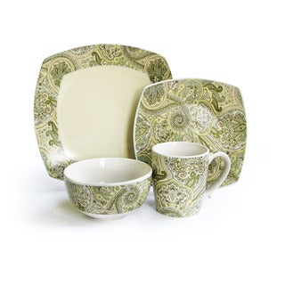Waverly Green/ Ivory Paisley 16-piece Dinnerware Set