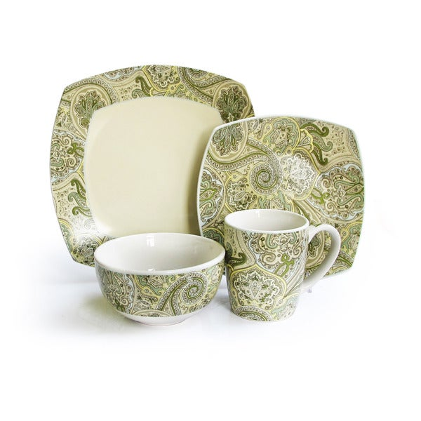 Waverly Green/ Ivory Paisley 16-piece Dinnerware Set