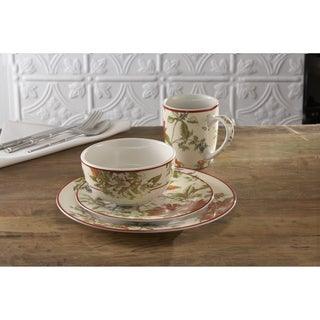 Waverly Fawn Hill Creme/ Red Floral 16-piece Dinnerware Set