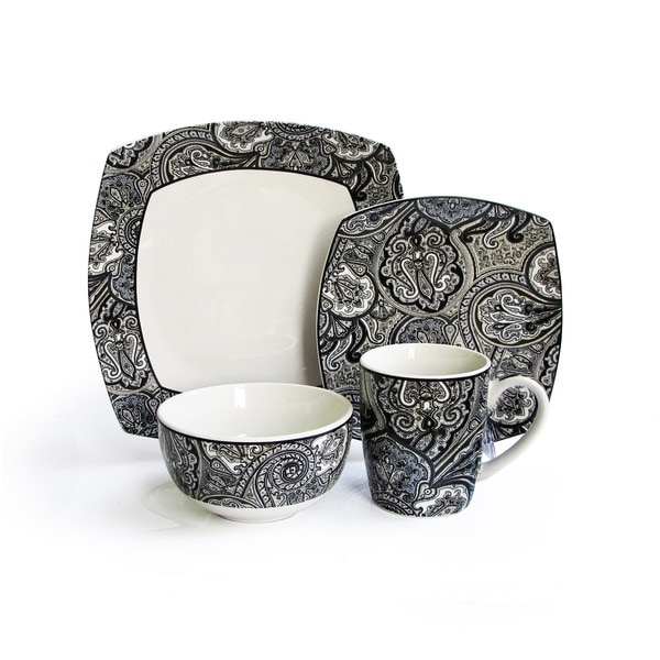 Waverly Black Paisley 16-piece Dinnerware Set