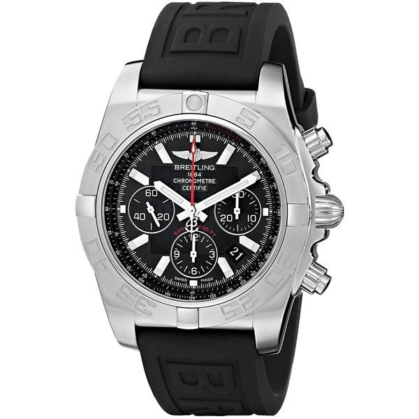 Breitling Men's 'Chronomat' Black Dial Black Rubber Strap Quartz Watch