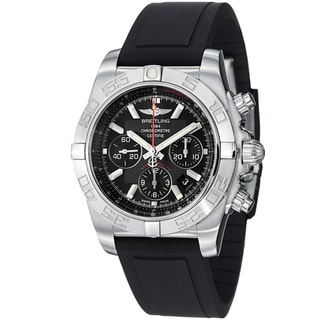 Breitling Men's 'Chronomat' Black Dial Black Rubber Strap Quartz Watch