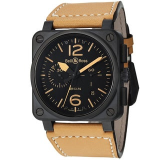 Bell & Ross Men's BR03-94HERITAGE 'Aviation' Black Dial Beige Strap Automatic Watch