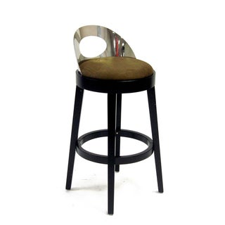 Stationary Polished Steel Back Barstool