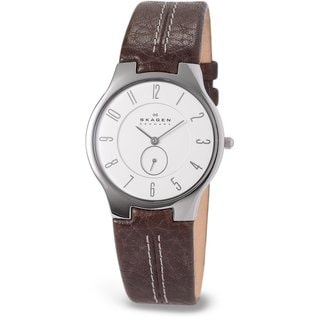 Skagen Men's 'Slimline' Leather/ Steel Watch