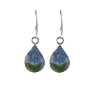 Sterling Silver Forget-Me-Not Teardrop Earrings (Mexico)