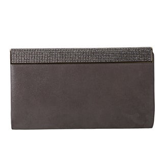 Jimmy Choo 'Cayla' Wetlook Grey Leather Clutch