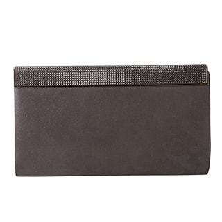 Jimmy Choo 'Cayla' Wetlook Grey Leather Clutch