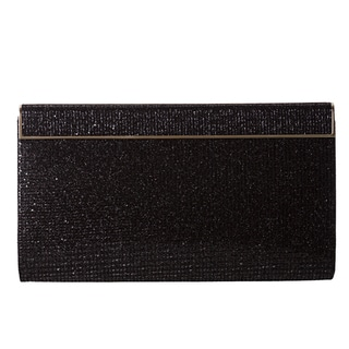 Jimmy Choo 'Cayla' Black Glitter Fabric Clutch