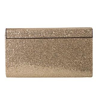 Jimmy Choo 'Cayla' Gold Glitter Fabric Clutch