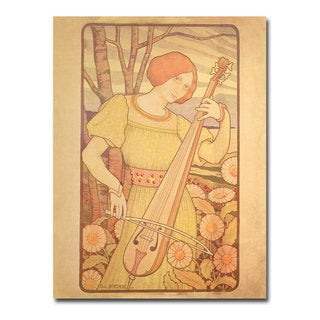 Paul Brethon 'Young Woman with Lute 1872' Canvas Art
