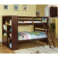 Multi-functional Espresso Finish Twin over Twin Bookshelf Bunk Bed/ Chest Set