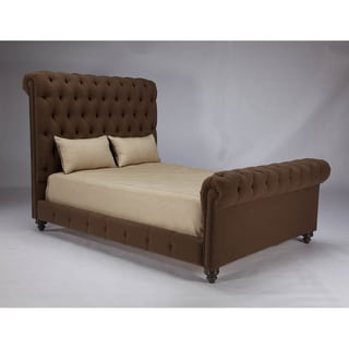 JAR Design 'Alphonse Tufted' Chocolate California King Bed with footboard