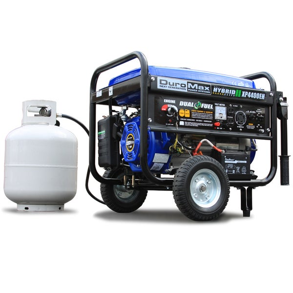 DuroMax Dual Fuel 4,400 Watt Hybrid Electric Start Propane/ Gasoline Portable Generator with Wheel Kit