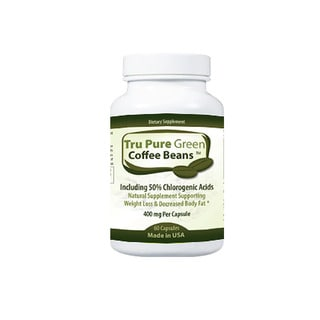 Pure Green Coffee Bean Extract 400mg Dietary Supplement with 50-percent Chlorogenic Acids (60 Capsules)