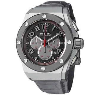 TW Steel Men's 'Ceo Tech' Grey Dial Grey Leather Strap Quartz Watch