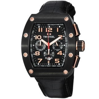 TW Steel Men's 'Ceo Tonneau' Black Dial Black Strap Chronograph Watch