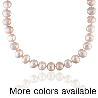 Miadora Freshwater Brown or Pink Pearl Necklace (9-10 mm)