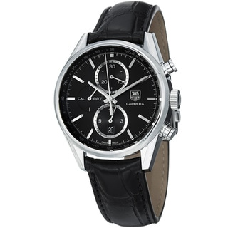 Tag Heuer Men's 'Carrera' Black Dial Black Leather Strap Quartz Watch