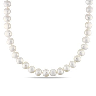 Miadora White 9-10mm  Freshwater Pearl Necklace (18-24 inch)