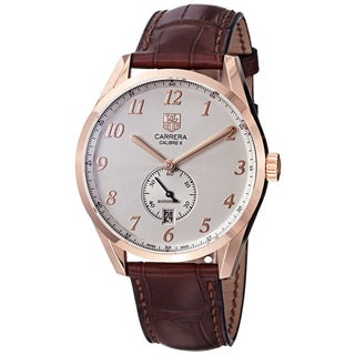 Tag Heuer Men's 'Carrera' Silver Dial Rose Gold Brown Strap Watch