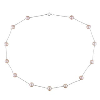 Miadora 10k Gold White or Pink Cultured Freshwater Pearl Tin Cup Necklace (7-8 mm)