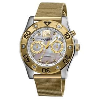 Akribos XXIV Women's Diamond Multifunction Goldtone Mesh Bracelet Watch