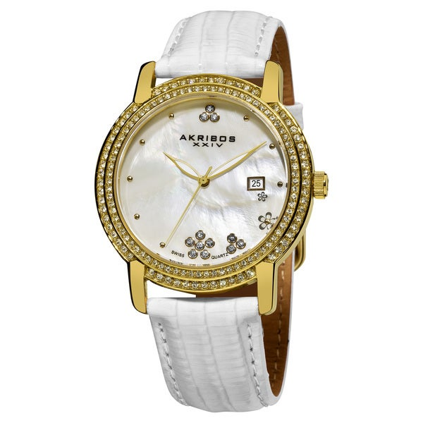 Akribos XXIV Women's Water-Resistant Swiss-Quartz Crystal Mother-of-Pearl Strap Watch