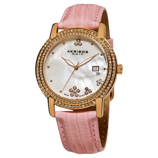 Akribos XXIV Women's Swiss Quartz Crystal Mother of Pearl Leather-strap Watch