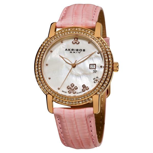Akribos XXIV Women's Swiss Quartz Crystal Mother of Pearl Leather-strap Watch