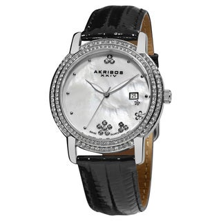 Akribos XXIV Women's Swiss-Quartz Crystal Mother-of-Pearl Leather-Strap Watch