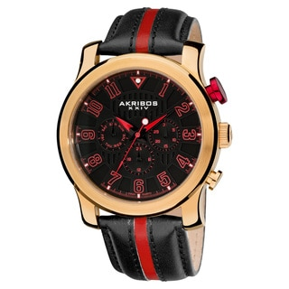 Black/ Red Akribos XXIV Men's Stainless-Steel Multifunction Sport Watch