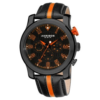 Black/ Orange Akribos XXIV Men's Stainless-Steel Multifunction Sport Watch