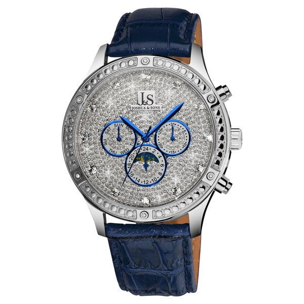 Joshua & Sons Men's Sparkling Mechanical Multifunction Leather-strap Watch