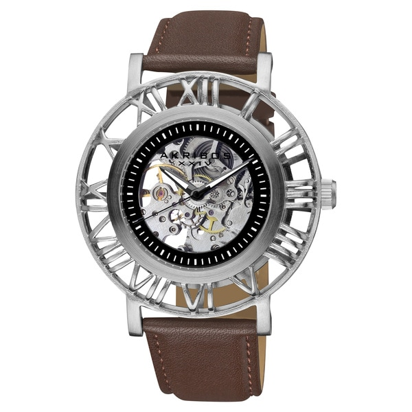Akribos XXIV Men's Stainless Steel Water-Resistant Automatic Skeleton Strap Watch