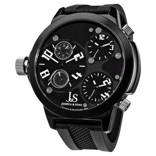 Joshua & Sons Quartz Triple Time Zone Rubber Strap Watch with Black Dial