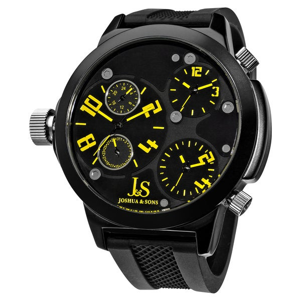 Joshua & Sons Quartz Triple Time Zone Black Rubber Strap Watch